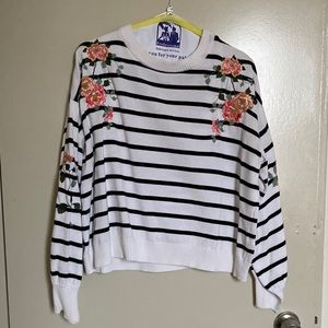 TOPSHOP Striped Sweater with Flower embroidered